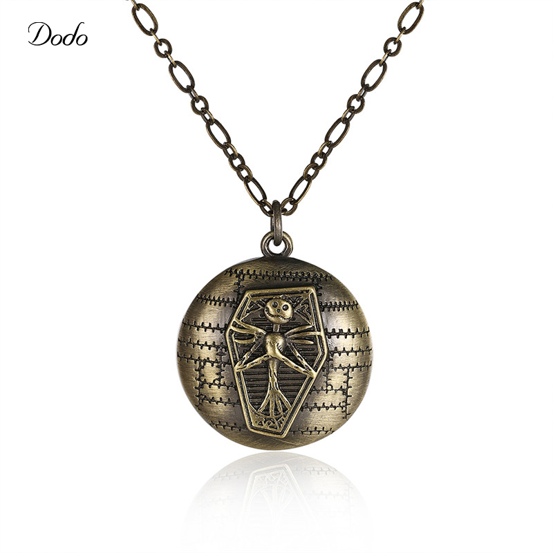 Dodo 2017 Vintage Necklace Halloween Round Jack in Coffin Pendant Necklace for Women Party Jewelry Charm Antique Choker CN925