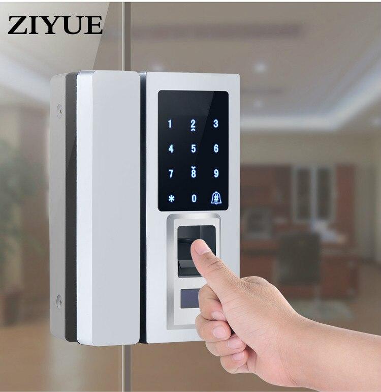 Pantalla táctil dígitos electrónica puerta de cristal cerradura de huella digital puerta de cristal huella digital/Código de contraseña/tarjeta RFID desbloquear