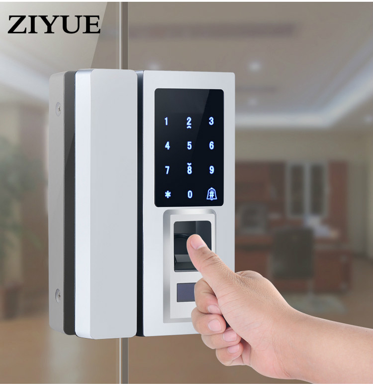 Touch Screen Digit Electronic Glass  door Fingerprint Lock For Glass Door Fingerprint / Password Code / RFID Card Unlock digital electric best rfid hotel electronic door lock for flat apartment