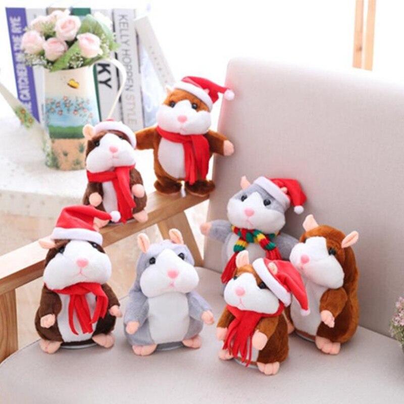 15 cm Navidad Talking hamster Hamster hablar ratón sonido Record repetir peluche animales juguetes educativos Hamster