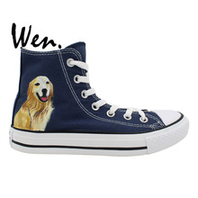 Wen Original Design Custom Hand Painted Shoes Small Golden Retriever Pet Dog Men Women's Blue High Top Canvas Sneakers