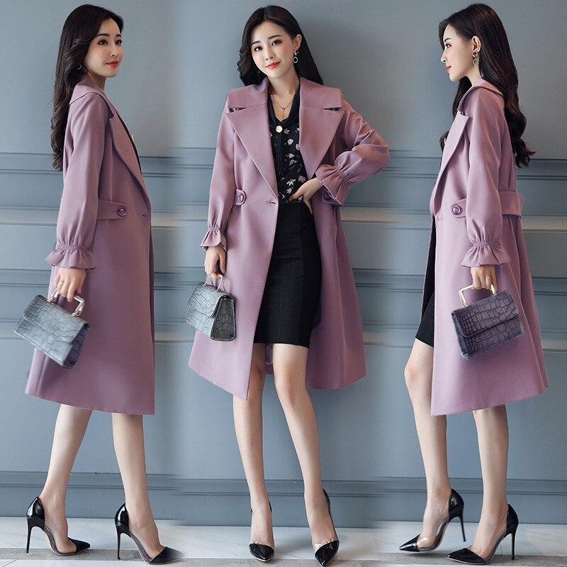 Outwear Manteau Nouveau Manteaux Mode Printemps Se Mince jiu Femmes down Blue purple Se Turn Taille 2019 Col vent Tranchée La Marque X421 red tuo Automne Coupe Plus Hong Longue SUzVpqM