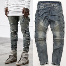 NEW HOT men Fold famous brand jeans Hip Hop high quality Skinny Denim Biker Joggers Fashion Streetwear pants trousers 3 colors