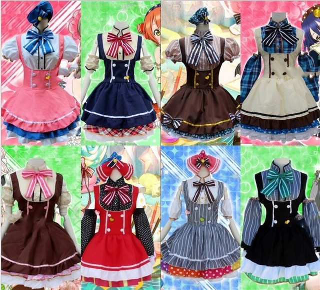 Japanese Anime Love Live Tojo/ Umi/ Eli/ Hanayo/Nico/Rin Candy Maid Uniform Princess Lolita Dress Cosplay Costume one size