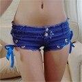Sexy Shorts Jeans Feminino Micro Mini Shorts Sexy Denim Shorts Cintura Baixa Curtas Com Fitas Azul/Preto/Branco/rosa/Amarelo Hotpants