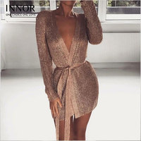 women elegant v neck pleated wrap dress bow tie sashes silver shiny long sleeve female autumn mini vestidos innor #235