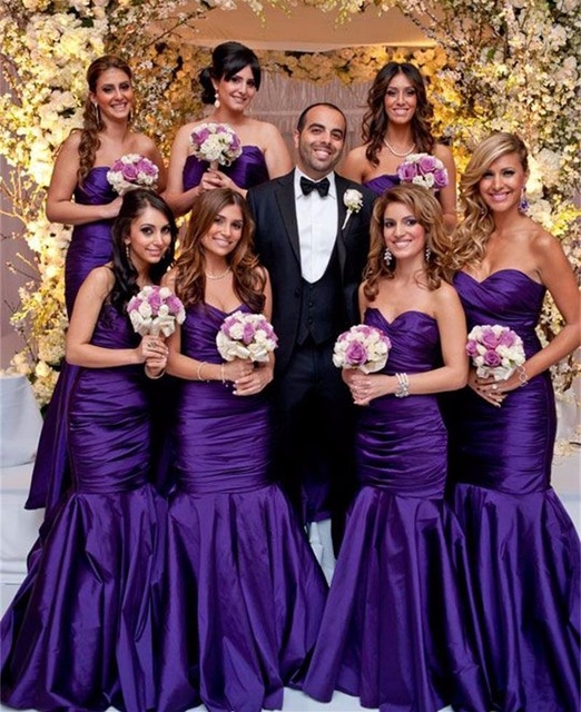 ab6353464ff2 Hot Sale Purple Satin Bridesmaid Dresses Sexy Sweetheart Pleated Mermaid  Wedding Party Gowns Maid Of Honor Dress B250-in Bridesmaid Dresses from  Weddings ...