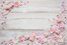 Laeacco Happy Valentines Day Photography Backgrounds Flowers Wooden Boards Floor Scene Photographic Backdrops For Photo Studio