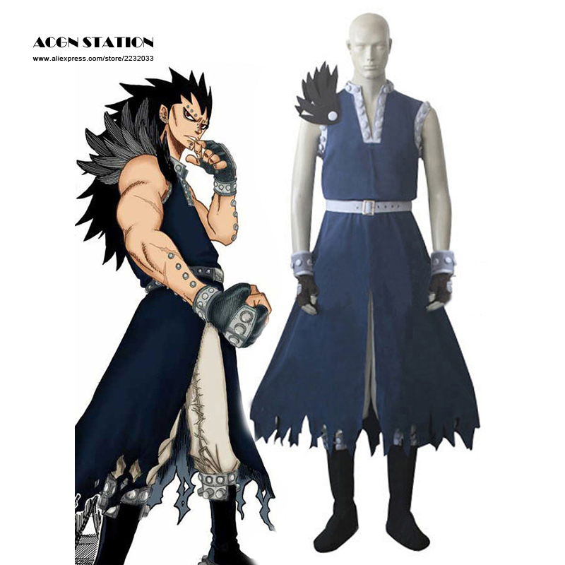2017 Free Shipping Blue Fairy Tail Dragon Slayer Gajeel Redfox Cosplay Costume Anime Costume For Halloween Tailor-made/Customize