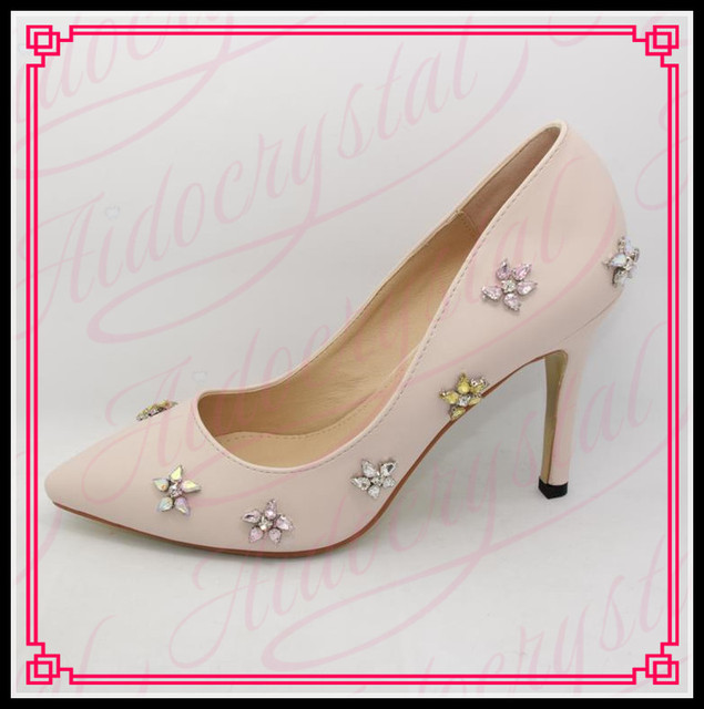 Aidocrystal 2017 NEW Rhinestone Summer Sexy Diamond Light Pink High Heels  Stiletto Party Pumps Wedding Shoes