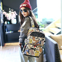 Women Backpacks Fresh Style Letter graffiti Print Bookbags Canvas Backpack School Bag For Girls Rucksack Female Travel Backpack perilla brand small backpack travel bag unisex school bag for teenage students backpacks rucksack bookbags cool urban backpack