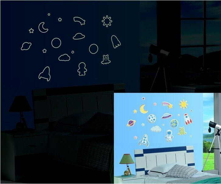 Aliexpress.com : Buy Luminous Fluorescent Stickers Wall Stickers For  Children Creative New Artistic Collage Planet Time Y0005 From Reliable Stickers  Wall ...
