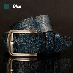 Image 4 - Hreecow Designer Riemen Hoge Kwaliteit Mannelijke Riem Lederen Band Luxe Beroemde Merk Krokodil Pin Gesp Ceinture Homme