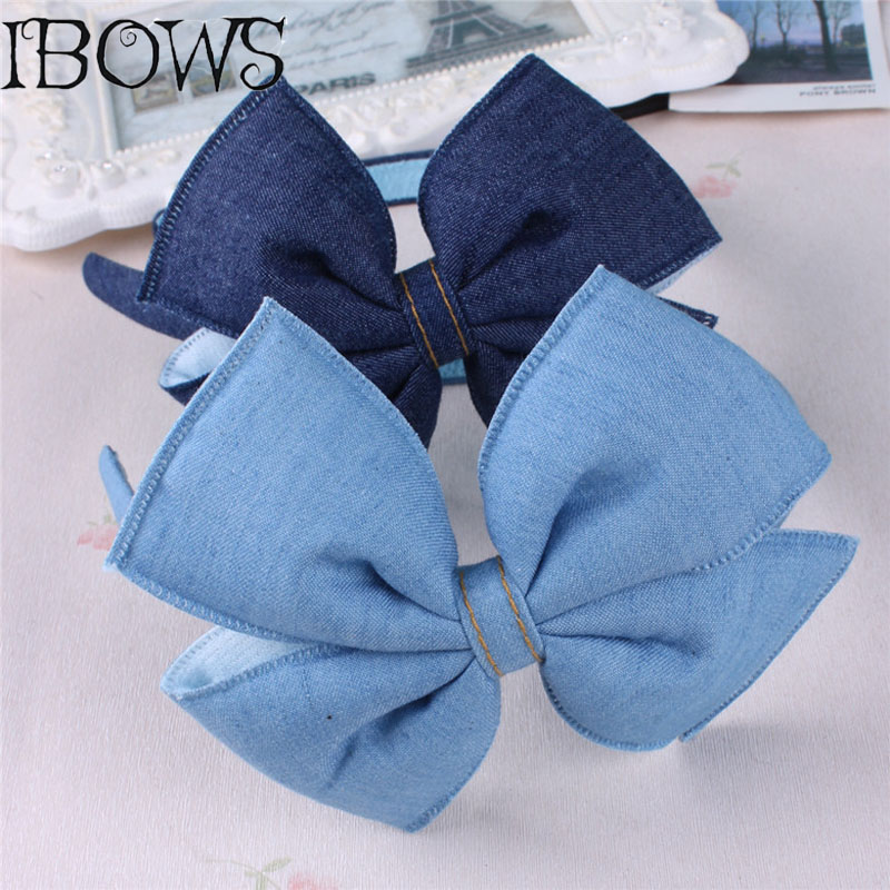 Denim Hair Accessories Headband Women Fabric Big Hair Bow Hairband For Girls Fashion Head Hoop   Headwear   Hair Accessories