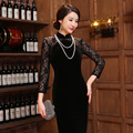 Traditional Chinese Dress Spring Autumn Lace Cheongsam Vintage Evening Dress Long Sleeve Lace Qipao Dress Chinese Clothing Store