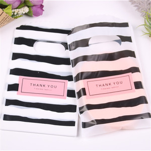 Image 4 - Wholesale 50pcs/lot New Design Black&white Striped Packaging Bags for Gift Small Plastic Jewellery Pouches with Thank You