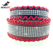 Onewellpet Brand High Quality Leather Collar With Rhinestones And Special Weaving Process S M For Bulldog And Other Pet Dogs