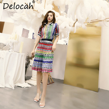 Delocah Women Spring Summer Vintage Suits Runway Fashion Designer Bow Tie anb Striped Printed Elegant Skirt Two Pieces Set