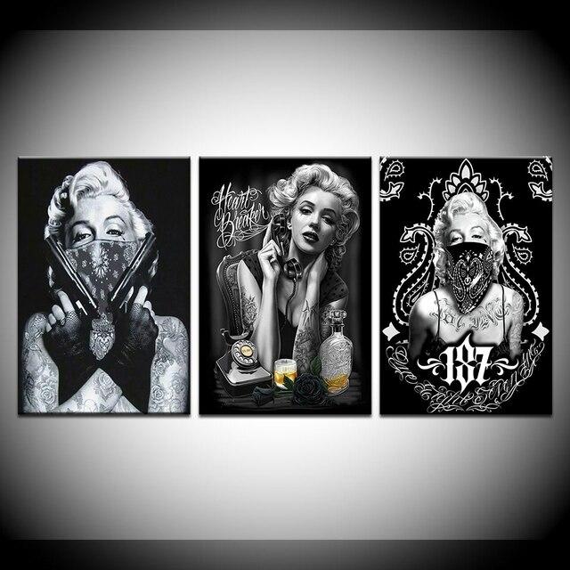 Tattoo Marilyn Monroe Art Prints Black White Pop Art Poster Sexy