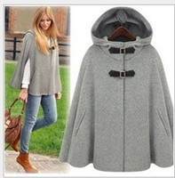 2018 Europe fashion cashmere wool coat autumn women jacket winter poncho plus size female loose hooded cape cloak coat overcoat