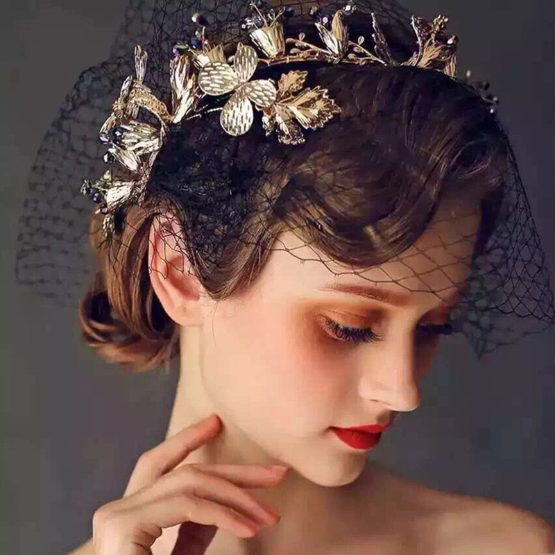 Black Wedding Hairstyles With Crown: Magnificent Leaf Black Rhinestones Headbands Wedding Tiara