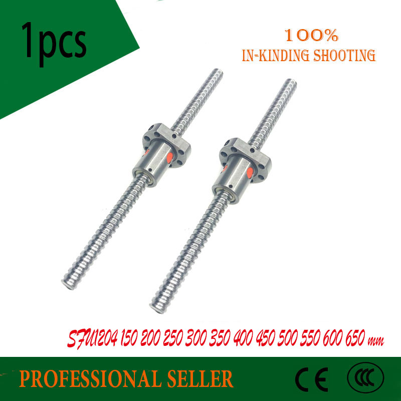 SFU1204 200 250 300 350 400 450 500 550 600 650 mm C7 ball screw with 1204 flange single ball nut BK/BF10 end machined цены