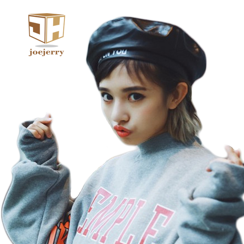 Joejerry Fashion Felt Pu Leather Beret Hat Women Cap Female Ladies Beanie Beret Girls For Spring