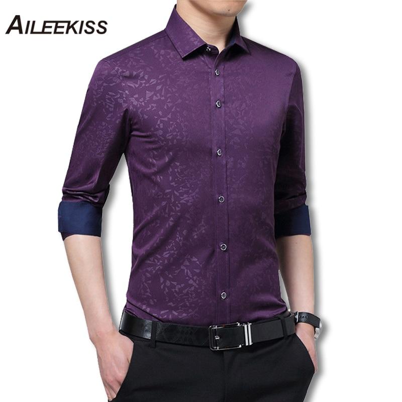 2018 Long Sleeve Men Shirts Business Wear Mens Dress Shirts Hit Color Patchwork Male Shirts Plus Size 5XL Man Tops Autumn XT449