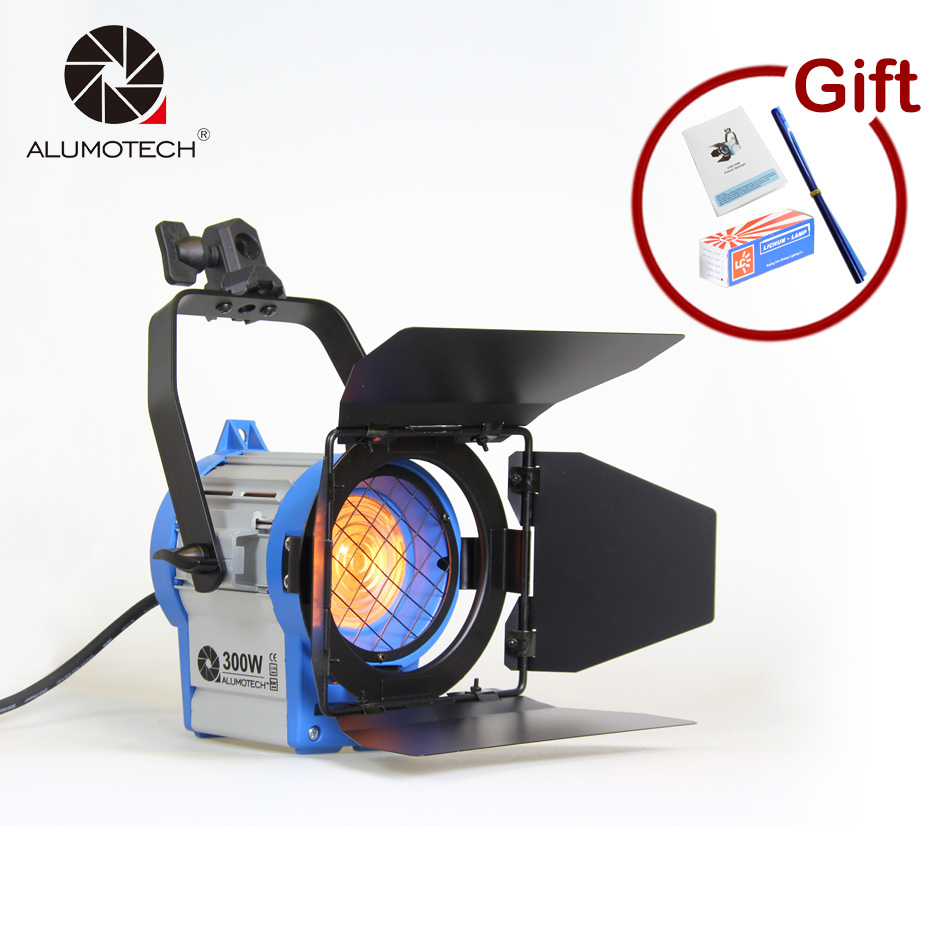ALUMOTECH Fresnel Tungsten 300W photographic equipment Studio Video Light For Camera Compatible+Bulb+Barndoor Free Shipping for film 300w 1000w 2 dimmer 4 fresnel tungsten spot light camera video studio