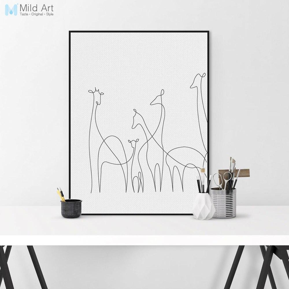 wohnzimmer wand poster : Moderne Picasso Schwarz Wei Linien Leinwand A4 Kunstdruck Poster