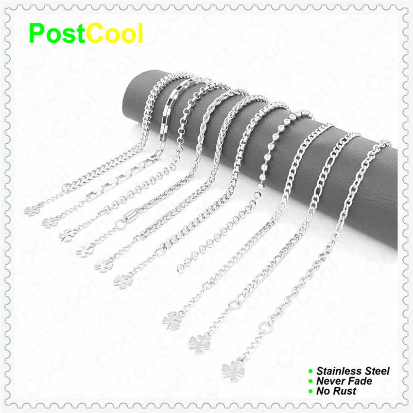 Joyería de moda 4 MM de ancho 10 diferentes estilos de cadena 18CM20CM22CM24CM pulseras de cadena de acero inoxidable Cadena de mano tobilleras