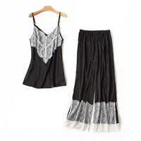 Hot Sale Women Sexy Lingerie Pajamas Suit Ladies Casual Sleepwear 2PCS Strap+Pant Lace Trim Nightie Satin Nightwear Home Clothes
