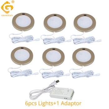 LED Under Cabinet Lights 12V Golden Round Cupboard Puck Light Kitchen Wardrobe Counter Closet Lighting Furniture Motion Sensor