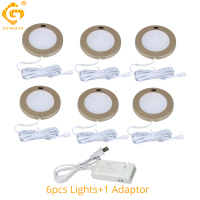 LED Under Cabinet Lights 12V Golden Round Cupboard Puck Light Kitchen Wardrobe Counter Closet Lighting Furniture Motion Sensor