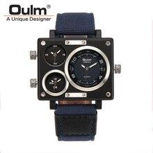 Oulm Reloj de la Marca de Lujo Hombre Tela Pasr Múltiples Zonas Horarias de Reloj Reloj Masculino de Cuarzo Cuadrado Relojes Deportivos montre homme