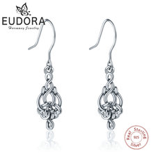 Уникальные серьги EUDORA из чистого 925 пробы серебра с кельтским узлом, модные висячие серьги в форме сердца для женщин, хорошее ювелирное изделие, очаровательный подарок