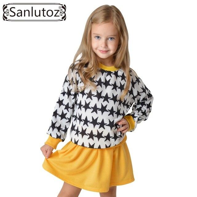 Sanlutoz Toddler Girls Clothing Set Winter Stars Sport Suit Autumn Kids Clothes for Girls Fashion Brand (Tshirt + Tutu) 2pcs set