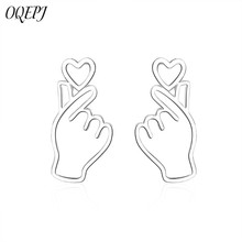 OQEPJ Trendy Simple Cute Heart Palm Hand Earrings 925 Sterling Silver Hollow New Designer Jewelry Women Exquisite Gifts