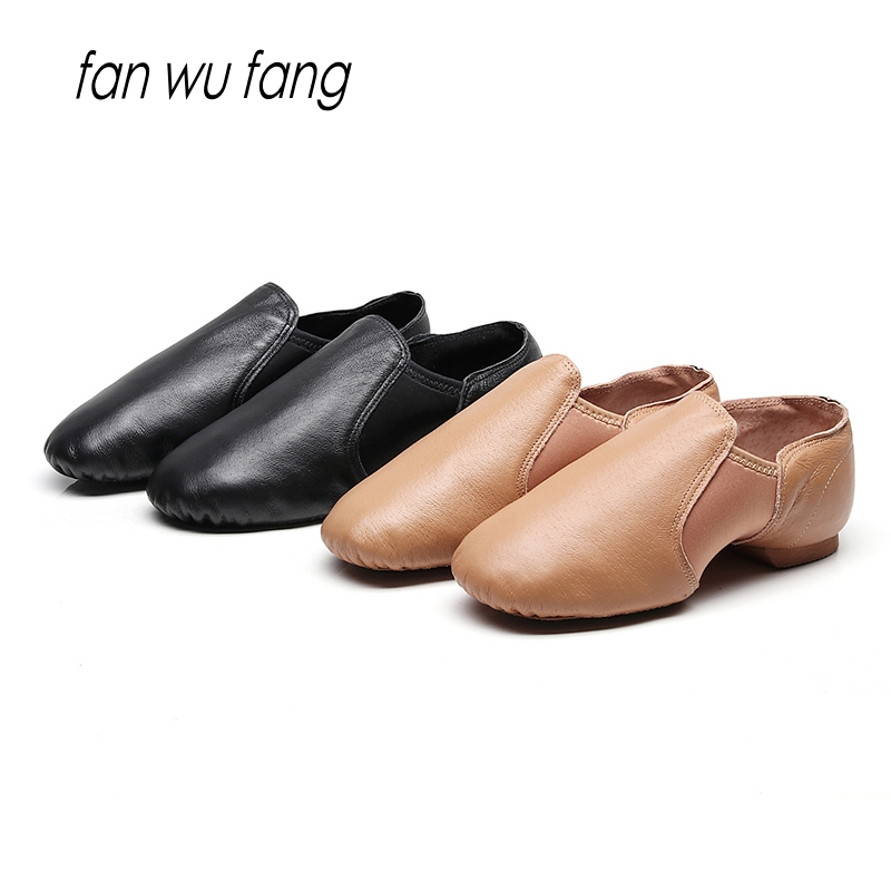 2019 New Jazz Slip on Dance Sneakers Dancing Shoes Leather Stretch Black Brown Adults & Children According The CM To Buy image