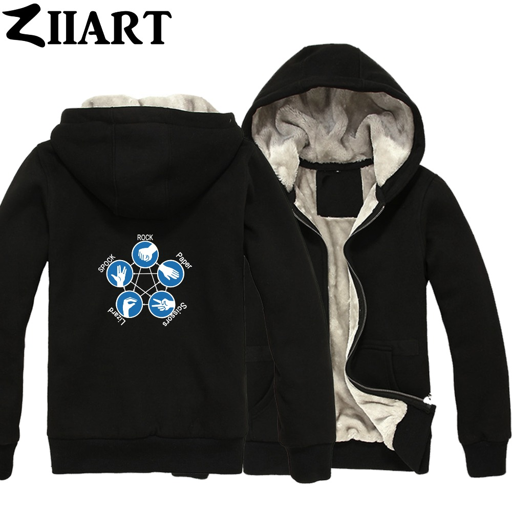Rock Paper Scissors Lizard Spock The Big Bang Theory Boys Man Male Full Zip Autumn Winter Plus Velvet   Parkas   ZIIART