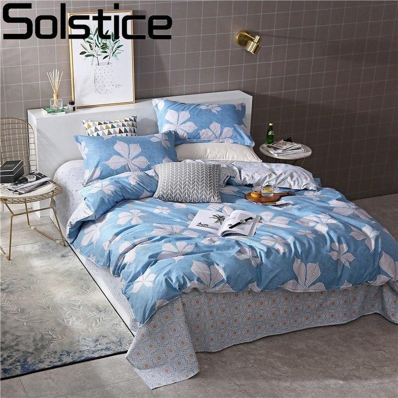 Solstice Home Textile Woman Adult Bedding Sets Blue Elegant Leaf Linens Girl Teen Duvet Cover Pillowcase Pattern Flat Bed Sheets