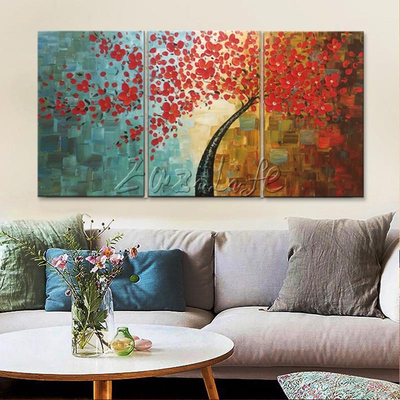 Canvas tree oljemålning 3 delar palettkniv 3D-textur röda blommor - Heminredning - Foto 1