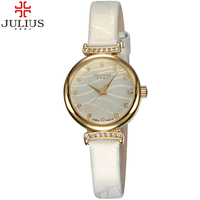 2017 Luxury Julius Brand Quartz Watch Women Rhinestone Watches Mini Leather Crystal Wristwatch Relojes Mujer 2017