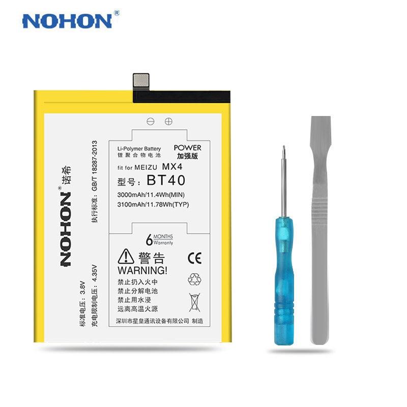 Original NOHON Für Meizu MX4 MX4 Pro MX5 M2 Hinweis PRO 6 Batterie BT40 BT41 BT51 BT42C BT53 M575M M575U echt Hohe Kapazität Bateria