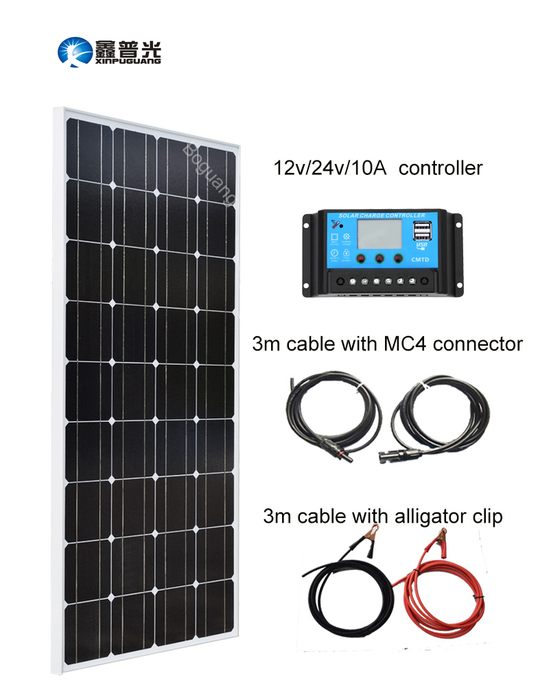 Xinpuguang 100W 18V Solar Panel System Module Mono Silicon Cell for 12V Battery Power Charger 10A USB Controller MC4 Connector h 001 solar battery cell component waterproof mc4 connector black 2 pcs