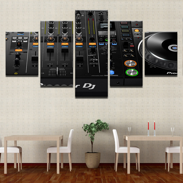 Canvas Painting Wall Art Home Decor For Living Room HD Print 5 Pieces Music  DJ Console