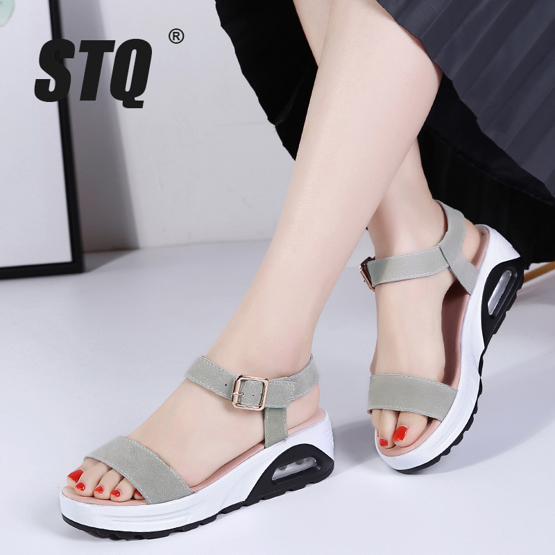 STQ Sandals Shoes Ladies Wedge Flip-Flops High-Heel Beach Women Slingback GF526