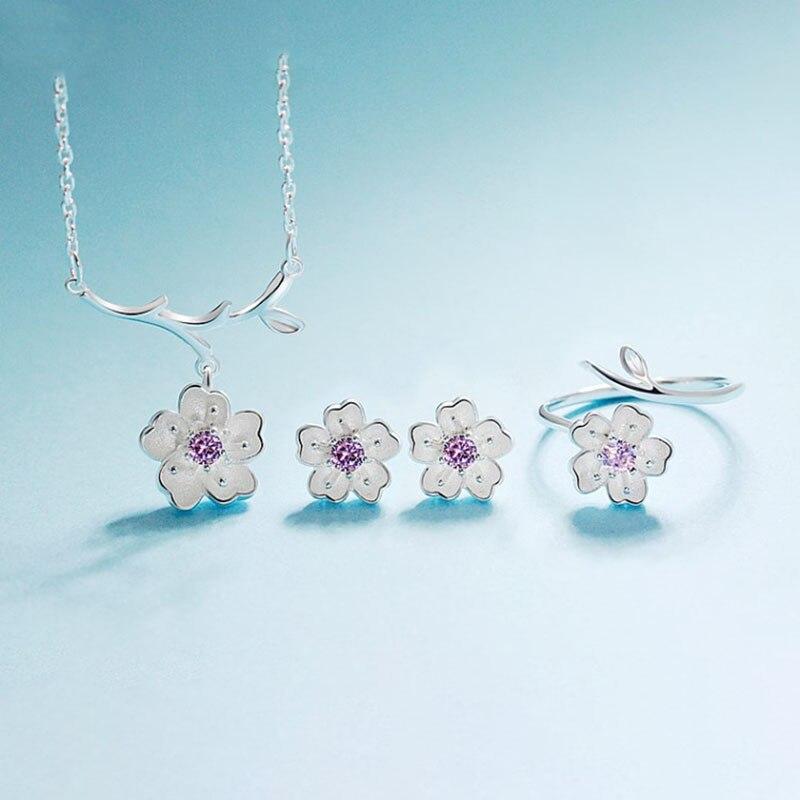 ANENJERY, 925 пробы, серебряные ювелирные наборы, романтическая цветущая вишня, цветок, ожерелье+ серьги+ кольцо+ браслет для женщин - Окраска металла: Purple 3 pcs per set