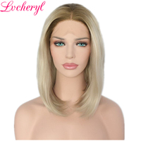 Lvcheryl Ombre Brown Roots To Ash Blonde Short Bob Hand Tied Full Density High Temperature Fiber Hair Synthetic Lace Front Wigs