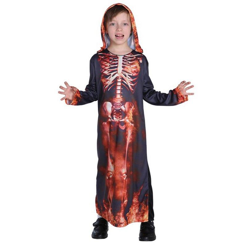 Kids Child Underworld Hell Fire Devil Costume Robe Horror Skeleton Boys Outfit Grim Reaper Costumes Halloween